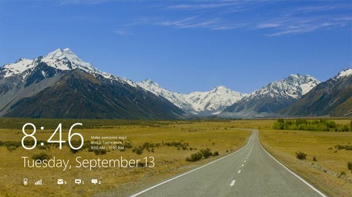 Microsoft Windows 8 operating system lock screen image